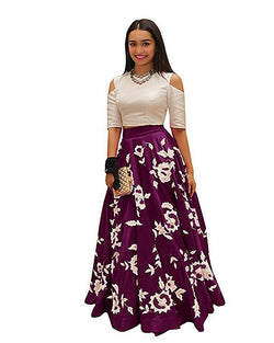 Muta Fashions Women's Semi Stitched Banglory Silk Purple Gown $ GOWN00067