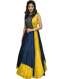 Muta Fashions Women's Semi Stitched Tafeta Silk Yellow Gown $ GOWN00073