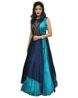 Muta Fashions Women's Semi Stitched Taffeta Silk Sky Blue Gown $ GOWN00074