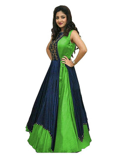 Muta Fashions Women's Semi Stitched Tafeta Silk Green Gown $ GOWN00077