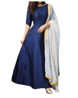 Muta Fashions Women's Semi Stitched Taffeta Silk Blue Gown $ GOWN00163