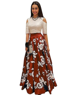 Muta Fashions Women's Semi Stitched Bangalory Cotton Maroon Gown $ GOWN00189