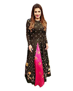 Muta Fashions Women's Semi Stitched Bangalory Pink With Black Gown $ GOWN00195
