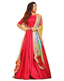 Muta Fashions Women's Semi Stitched Tafetta Silk Red Gown $ GOWN00211