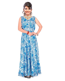 Muta Fashions Women's Stitched Georgette Sky Blue Gown $ GOWN00241