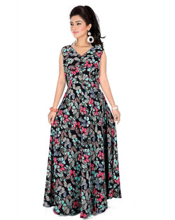 Muta Fashions Women's Stitched Georgette Black Gown $ GOWN00242