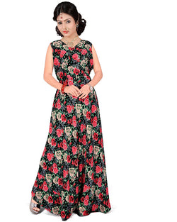 Muta Fashions Women's Stitched Georgette Red & Black Gown $ GOWN00243