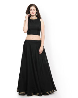 Muta Fashions Women's Semi Stitched Banglori Silk Black Gown $ GOWN00255
