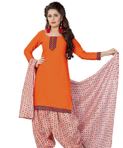 Minu Suits Orange Cotton Salwar Suits Sets Dress Material Freesize,Satinpatyala_6001