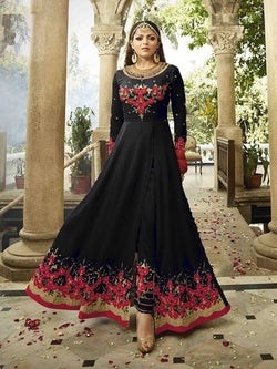 YOYO Fashion  Latest Fancy Semi-stitched Faux Georgette Embroidered Anarkali Salwar Suit $ F1250 Black