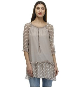 Glam a gal grey and off white tunic