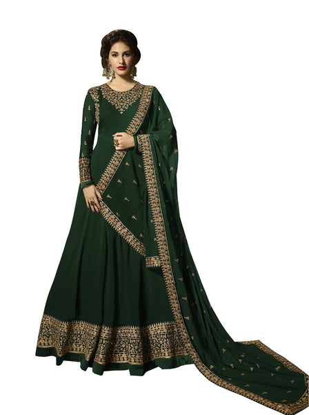 YOYO Fashion Georgette Anarkali Semi-Stitched salwar suit $ F1295-Green