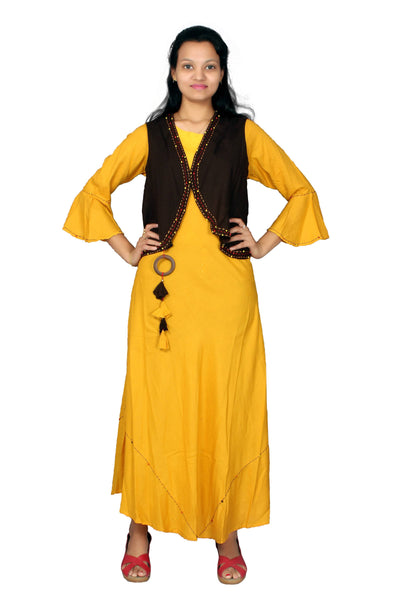 MV FASHION Reyon Cotton Embroidered Yellow Gown With Slug $ MV_G_1201-Yellow