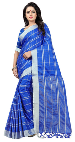 YOYO Fashion Latest Fancy Linan Cottan Blue Saree $YO-SARI2584 Blue