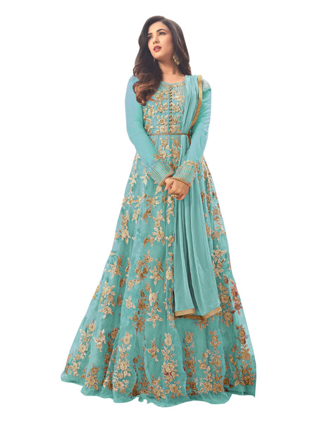 YOYO Fashion Latest Fancy Semi-stitched  Net Embroidered Anarkali Salwar Suit Gown$F1211-Sky Blue