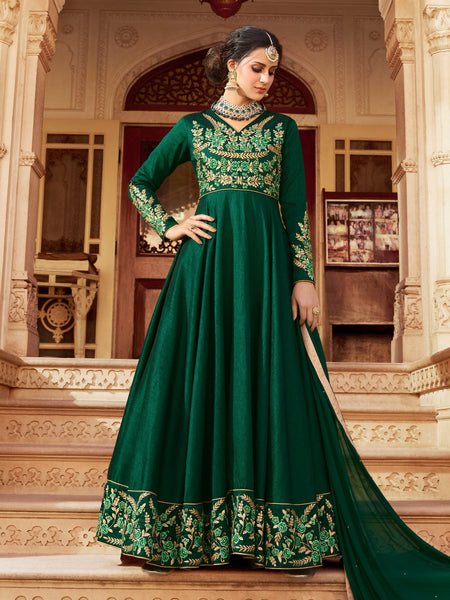 YOYO Fashion Bollywood Designer Silk Anarkali Salwar Suit With Dupatta - F1152