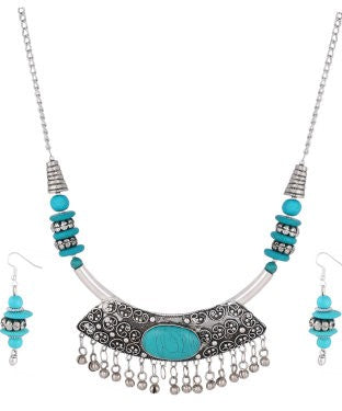 Aradhya Metal Jewel Set (Blue, Silver)