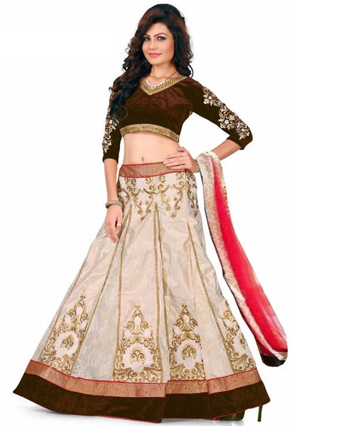 Muta Fashions Women's Semi Stitched Heavy Goto Brown Lehenga $ LEHENGA130