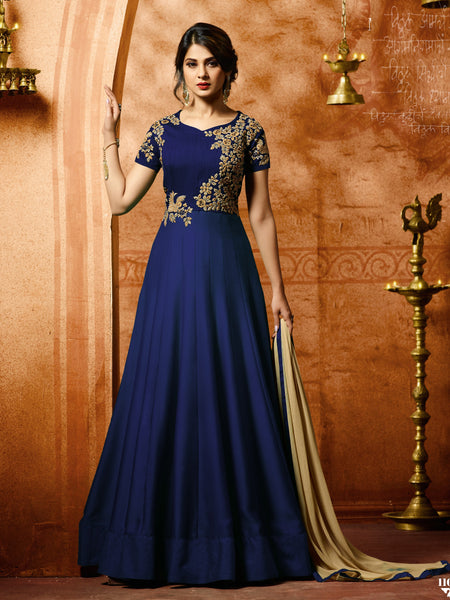 YOYO fashion Bollywood Designer Silk Anarkali Salwar Suit With Dupatta - F1153 Blue