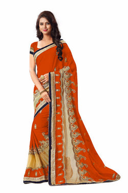 16to60trendz Orange Georgette Embroidery Designer Saree $ SVT00266