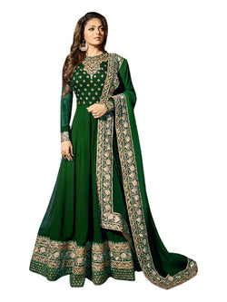 YOYO Fashion Latest Fancy Party Wear Faux Georgette Embroidered Anarkali Salwar Suit $YOYO-F1249-Green