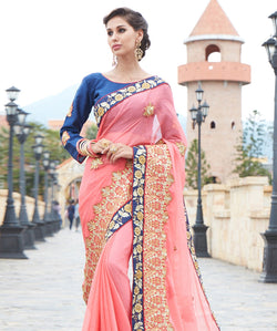 Pink Chiffon Embroidery Saree with Blouse