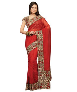 Laethnic Red Plain Supernet Saree