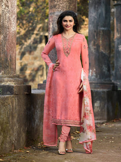YOYO Fashion Pink Crepe Straight Semi-Stitched Salwar Suit With Dupatta $ F1289