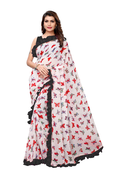 YOYO Fashion Georgette Printed Ruffle Saree $ YO-SARI2656-Black