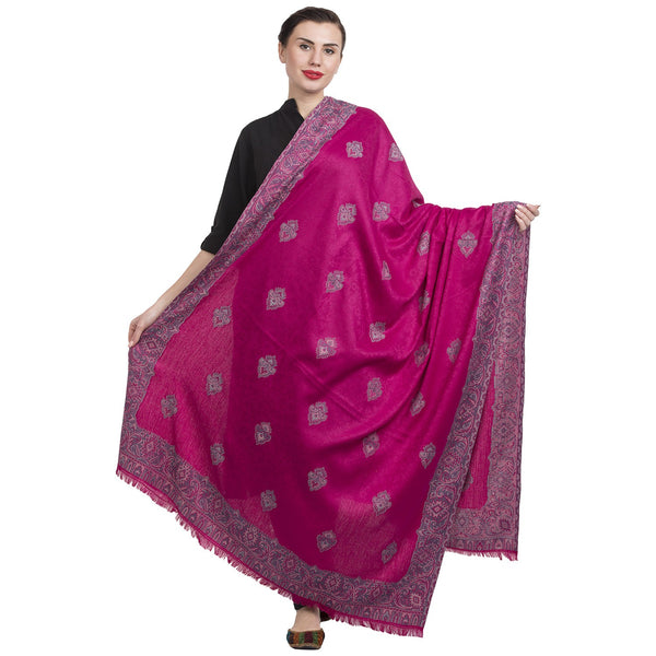 La Vastraa's Magenta Jamawar Shawl for Women-HKS0201