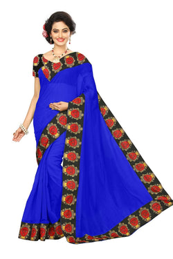 16to60trendz Blue Chanderi Lace Work Chanderi Saree $ SVT00089