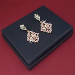 Gold Plated Crystal Stone Dangler Earrings