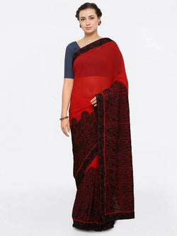 Umang NX Red Georgette Designer Embroidery Sarees $ UN5559