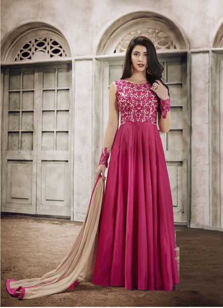 YOYO Fashion Designer Fancy Silk Pink Anarkali Gown Salwar Suit - F1129