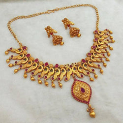 Tanishka Fashions Maroon Pota Stone Copper Necklace Set