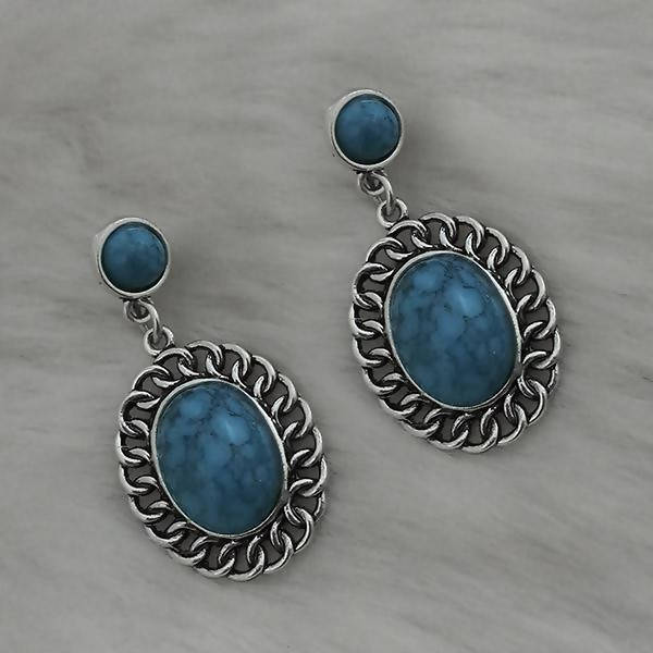 Tanishka Fashion Silver Plated Blue Turquoise Stone Dangler Earrings $ 1310866D