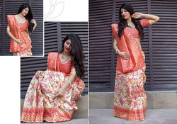 Fashion Zonez Patola weving work Banarasi Patola Silk White & Orange Designer Saree With Blouse $ FZ 2736
