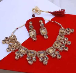 Gold Plated Alloy Metal Hand Crafted Work Women's LCD Kundan necklace set $ AF788647