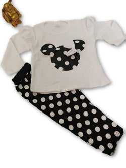 Cute Minnie Printed Bear Top & Bottom Set For Baby Kids_Black & White $ CP-KA19