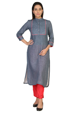 Vaniya Women Cotton Kurta Gray Solid Kurti $ VN-K150