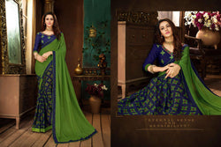 Fashion Zonez Printed Rangoli Georgette Green & Nevy Blue Designer Saree With Blouse $ FZ 2656