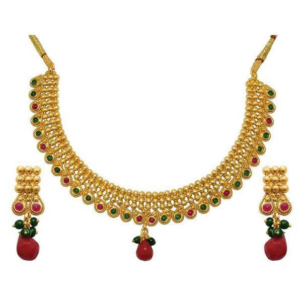 Tanishka Fashions Red Austrian Stone Gold Plated Necklace Set