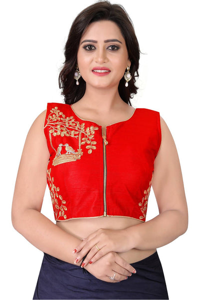 YOYO Fashion Red Malbari Embriodered Extra Sleeve With Blouse $ YOYO1-BL4008