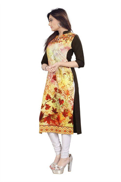 Manvi Fashion Women's Designer Partywear Multi Color American Crepe Fabric Digital Printed Readymade Kurti $ MF 2837