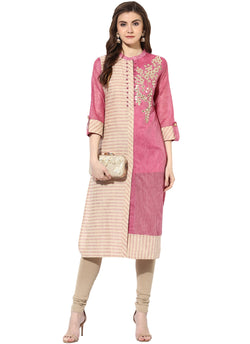 Mytri Women's Beige & Pink Chanderi Embroidered Straight Kurta $ 9000485-BEIGEPINK