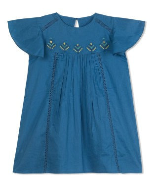 Budding Bees Girls Blue Solid Embroidered Dress