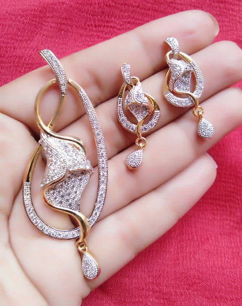 Ankita Fashion Gold Plated American Diamond AD Princess pendant set $ AF78861243