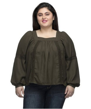 Oxolloxo Brown Solid pleated Top with lace detail