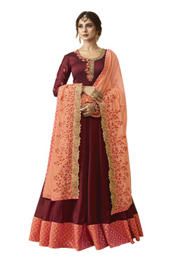 YOYO Fashion Purple Silk Anarkali Salwar Suit & YO-F1305-Red