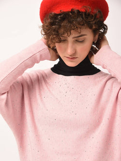 Aiyra Pink Color Wollen Dolman sleeved embellished top $ AR15801674_Free